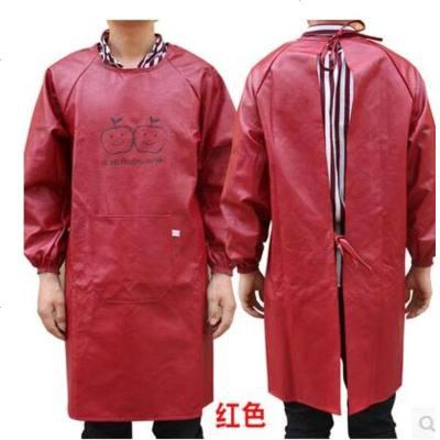 防水防油男女成人PU罩衣厨房长袖围裙皮革耐酸碱反穿衣加厚工作服