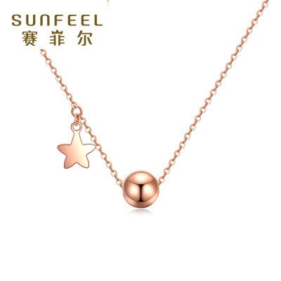 賽菲爾18k金項鏈 玫瑰金0字項鏈K金飾品時尚鎖骨黃金項鏈鏈女款 黃金飾品小清新套鏈女 送女友