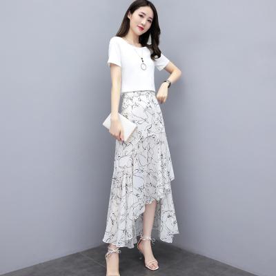 班俏BANQIAO雪紡連衣裙女神范2020年夏裝新款女裝氣質輕熟風收腰顯瘦裙子套裝