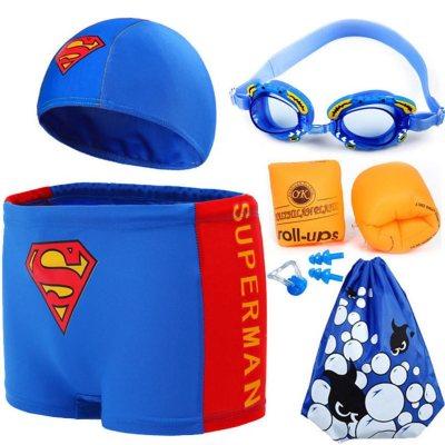 兒童泳衣男童泳褲套裝男孩分體小中大童小超人游泳衣寶寶泳衣 莎丞