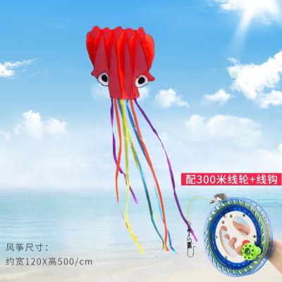 軟體章魚風箏帶線輪套裝_濰坊兒童小卡通初學者大型成人微風易飛