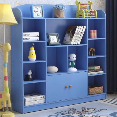 兒童書架簡易學生書柜簡約現代美式置物架書房書櫥帶門原木色白色 612款米白色寬120深24高122CM 1-1.2米寬