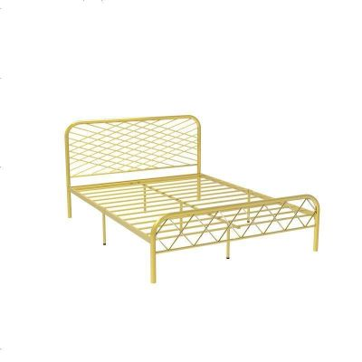 北歐ins網紅風斯黛拉金色雙人鐵床極簡設計師1.8米床鐵藝床成人 1500mm*2000mm_金色(排骨架