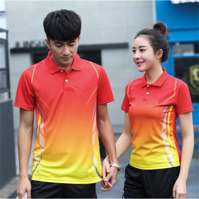 團體乒乓球服套裝速干吸汗 短袖翻領T恤男女短袖比賽羽毛球運動衫