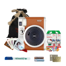 富士(FUJIFILM)INSTAX 一次成像相机立拍立得 mini90相机银棕 奢华套餐三(含20张花边胶片)