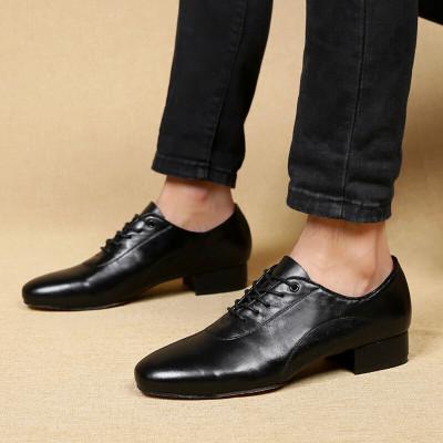 男士舞鞋国标舞男鞋中跟摩登舞鞋皮交谊舞鞋 黑色