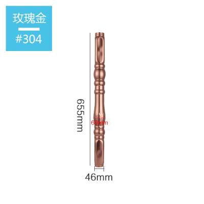 304不銹鋼羅馬柱圍欄護欄配件花裝飾閃電客陽臺立柱歐式水漲柱欄桿柱子 304玫瑰金46x655mm