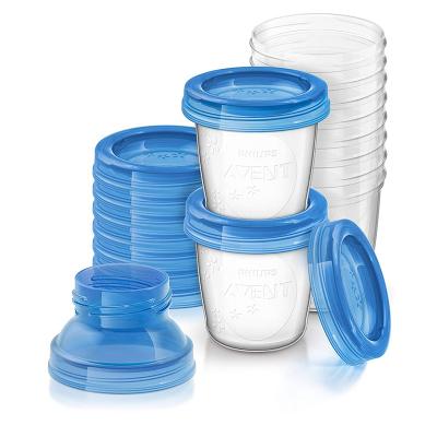AVENT 飞利浦新安怡VIA储奶杯母乳储存保鲜杯180毫升×10/组 配2个转换接口 辅食储存杯SCF618/10