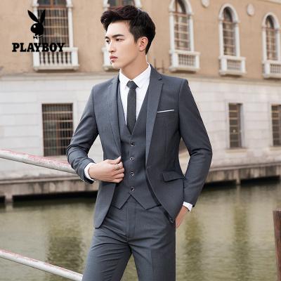 花花公子 ( PLAYBOY ICON )西服套裝男韓版修身三件套西裝職業正裝伴郎新郎結婚禮服英倫外套