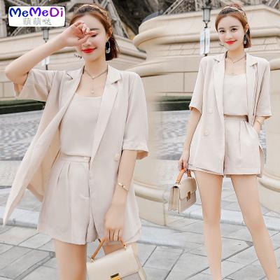 洋氣短褲西裝三件套裝女夏季2020新款網紅韓版小個子職業兩件套薄