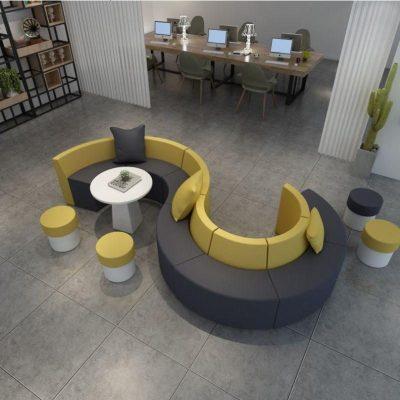 HOTBEE休息區輕奢弧形圓形休閑異形創意接待會客區s形沙發茶幾組合定制
