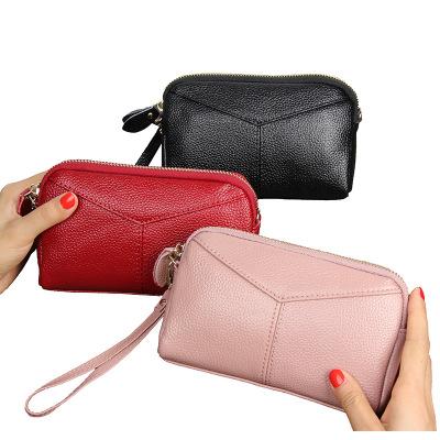 新款時尚牛皮女式手拿包韓版真皮女士零錢包手包手機包包女