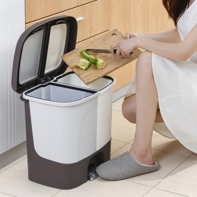 干濕分類筒家用符象塑料有蓋帶緩沖分類垃圾桶腳踏手按兩用