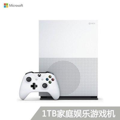 微軟(Microsoft)Xbox One S 家庭娛樂游戲機 4k超清 1TB存儲 雙游戲白色款:明星高爾夫+決戰喵星