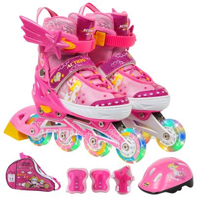 動感溜冰鞋兒童全套裝可調8輪全閃直排輪滑鞋公主王子旱冰鞋男女