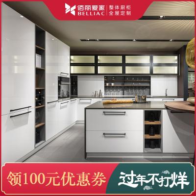 佰丽爱家现代风格厨房定制 整体橱柜厨房定制 极简时尚系列厨房 现代时尚厨房定制意向金
