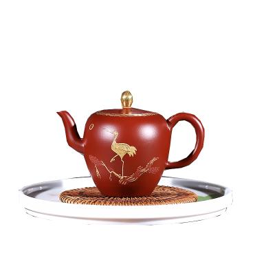 宜興紫砂壺名家全手工大紅袍美人肩壺描金功夫茶具泡茶壺陶瓷禮品