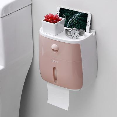卫生纸盒卫生间纸巾厕纸置物架厕所家用免打孔创意防水抽纸卷纸筒 藕粉色