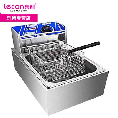 lecon樂創6L單缸 加厚商用不銹鋼單缸單篩電炸爐油炸鍋機炸雞爐油炸機油鍋機