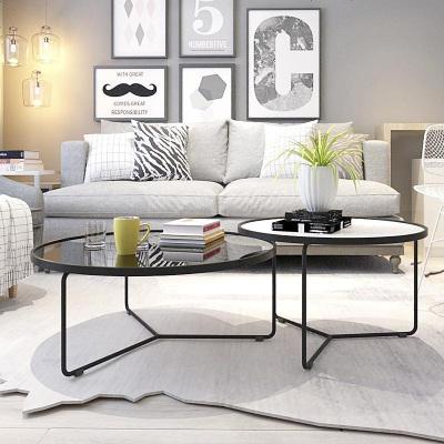北欧茶几小户型客厅铁艺玻璃圆形茶几组合设计师简约现代创意茶桌