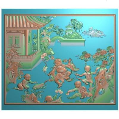 设计图常规顶柜上板2精雕图2百子顶箱柜刘海戏金蟾小板jdpai