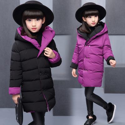 2018冬女童新款韓版棉服兒童純色帶帽雙面穿棉衣 莎丞