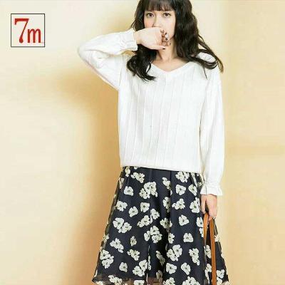 拉夏贝尔 7M秋季新款套装韩版显瘦白色V领T恤印花蓬蓬A字半身裙女70009558