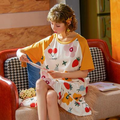 俞兆林2020夏季新款睡衣女短袖睡裙休閑韓版小清新家居服可外穿