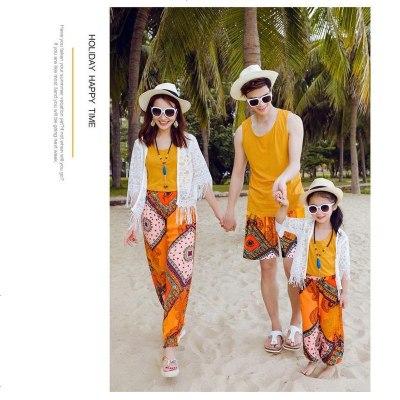 印度三亚度假旅游衣服父子母女全家四口三口沙滩旅游宝宝姐弟套装