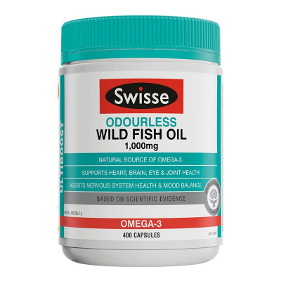 【第2件減5元】【400大包裝】Swisse無腥味深海野生魚油膠囊400粒/瓶裝 澳洲原裝進口魚油/深海魚油1000mg