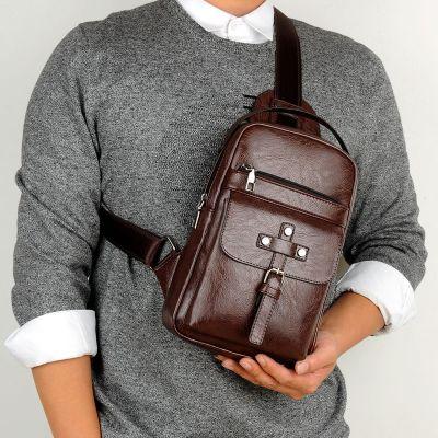 維希爾(weixier)復古胸包USB男包 休閑背包男士單肩包斜挎包男拉鏈小包