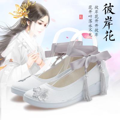 古風漢服鞋子女學生搭配古裝高跟繡花民族風平底增高綁帶小白鞋女