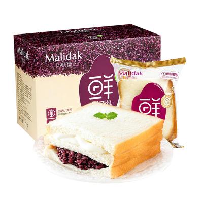 玛呖德 糕点 紫米面包1100g(奶酪夹心早餐软面包箱装)