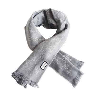 【正品二手99新】古馳(GUCCI) GG 133483 灰色 雙G 印花 羊毛 圍巾 100%羊毛 含盒