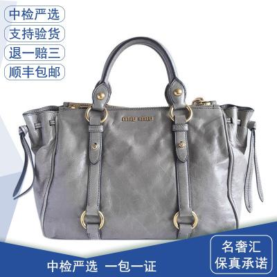 【正品二手9成新】繆繆(MIUMIU)RN0893 女士 灰色 牛油皮 單肩 斜挎包 包卡