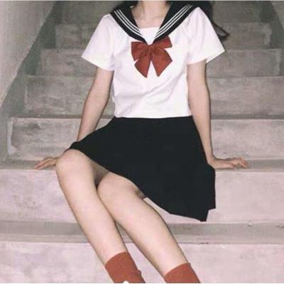 正統jk基礎款正版中間服原創白二本黑白三本制服裙日系水手服套裝