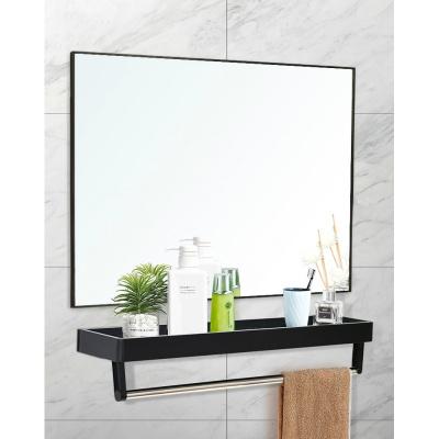 鋁合金浴室鏡帶置物架衛生間洗手間衛浴鏡子免打孔壁掛貼墻方形鏡