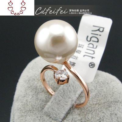 日韓食指夸張簡約指環個生潮人可調節開口珍珠氣質女戒指 Chunmi珍珠戒指