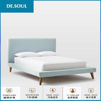 蘇寧放心購北歐1.5米小戶型雙人布藝床現代簡約風格可拆洗軟包布床1.8榻榻米