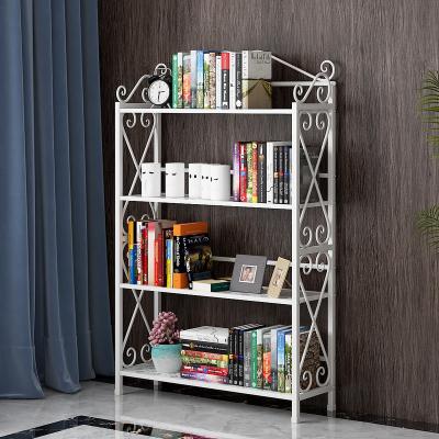 簡易書架落地省空間現代簡約鐵藝置物架多層收納架子創意兒童書柜