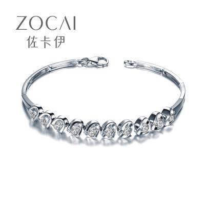 佐卡伊zocai 愛的密語白18k金1.2克拉鉆石手鏈手鐲天然圓鉆