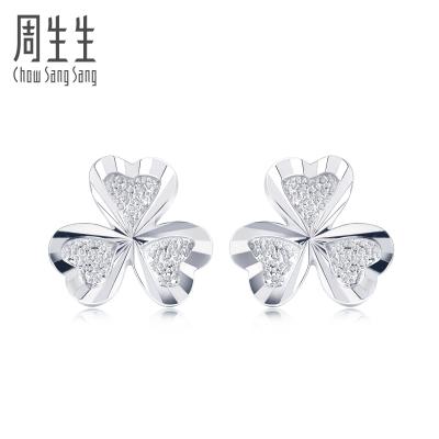 周生生(CHOW SANG SANG)Pt950鉑金耳環 37228E計價