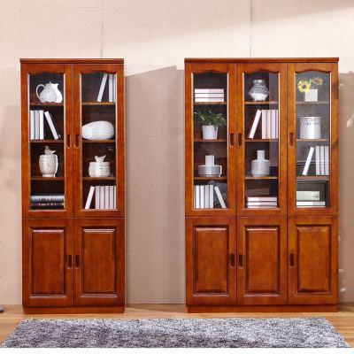 顧致現代中式實木書柜組合三二香樟木書柜帶書櫥書架帶玻璃