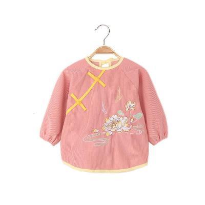 汉服宝宝罩衣防水全包围防脏婴儿秋冬长袖水晶绒吃饭衣幼儿园儿童