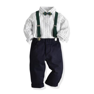 抹炫(MOXUAN)新款男童英伦风长袖衬衣长裤男宝周岁生日套装表演服演出服正装