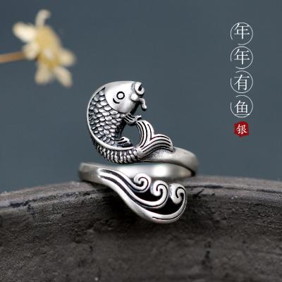 花語詩月銀如魚得水戒指開口女銀錦鯉食指環個性古典簡約飾品新年