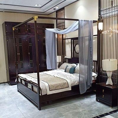 邁菲詩全實木雙人床新中式 架子床1.8米柱子床現代中式仿古民宿家具定制