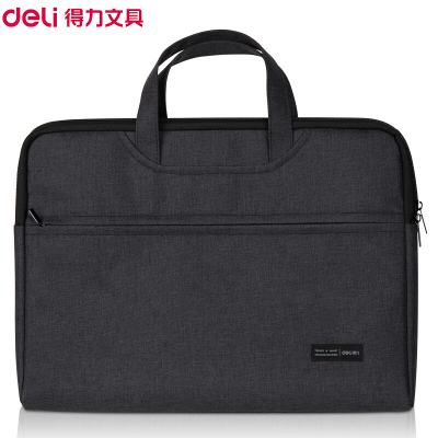 得力(deli)5590手提公文包 黑色事務包 商務會議包 筆記本電腦包 公文袋 拉鏈帆布包 文件袋