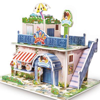 卓譽 兒童益智 3d立體拼圖 紙質玩具多款房屋建筑模型 冰淇淋店3歲以上200立體紙模以上