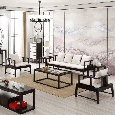 HOTBEE新中式实木沙发组合 民宿样板房家具定制 现代禅意办公室会客沙发
